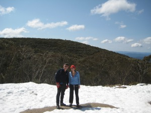 Skiing in Australia... with bare mountains behind us