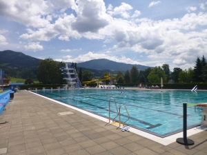 The beautiful, local outdoor pool.