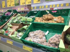 Seasonable vegetables in supermarket