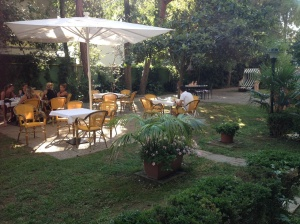 Breakfast at Hotel Adria in the cool garden