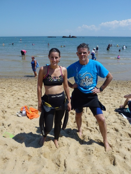 swimming ocean dad