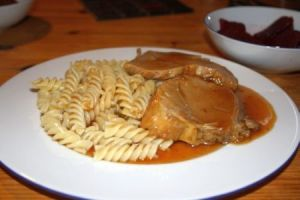 Have some roast pork... with pasta!