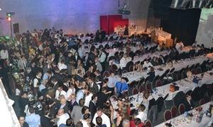 Packed dance floor austrian christmas party