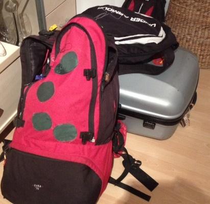 Backpack flying home