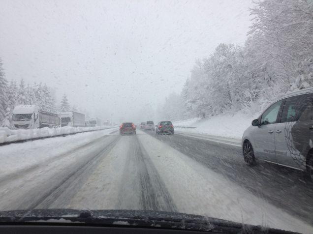 Snow driving April Austria