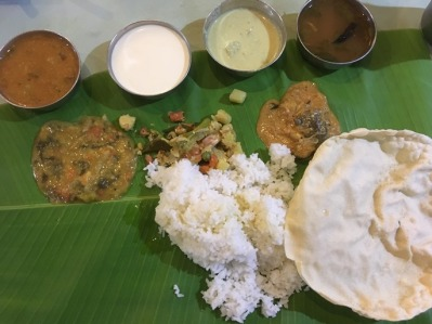 Southern Indian food banana leaf