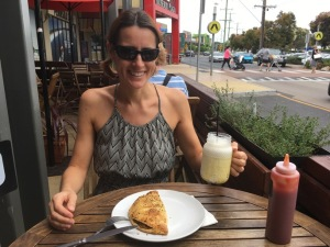 Australian food - pastie and milkshake