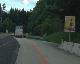 Roadworks in Austria on the autobahn cute signs